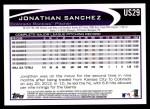 2012 Topps Update #29  Jonathan Sanchez  Back Thumbnail