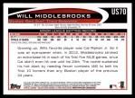 2012 Topps Update #70  Will Middlebrooks  Back Thumbnail
