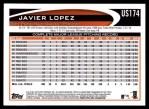 2012 Topps Update #174  Javier Lopez  Back Thumbnail