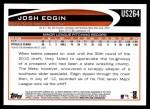 2012 Topps Update #264  Josh Edgin  Back Thumbnail