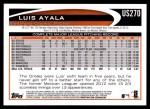 2012 Topps Update #270  Luis Ayala  Back Thumbnail