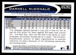 2012 Topps Update #282  Darnell McDonald  Back Thumbnail