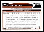 2012 Topps Update #320  Xavier Avery  Back Thumbnail