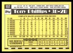 1990 Topps Traded #95 T Tony Phillips  Back Thumbnail