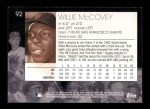 2001 Topps American Pie #92  Willie McCovey  Back Thumbnail