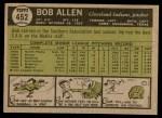1961 Topps #452  Bob Allen  Back Thumbnail