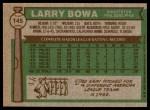 1976 Topps #145  Larry Bowa  Back Thumbnail