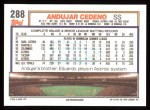1992 Topps #288  Andujar Cedeno  Back Thumbnail