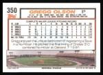 1992 Topps #350  Gregg Olson  Back Thumbnail