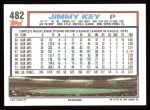 1992 Topps #482  Jimmy Key  Back Thumbnail