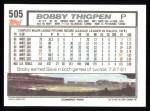 1992 Topps #505  Bobby Thigpen  Back Thumbnail