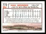 1992 Topps #773  Hal Morris  Back Thumbnail