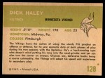 1961 Fleer #128  Dick Haley  Back Thumbnail