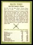 1963 Fleer #26  Ralph Terry  Back Thumbnail