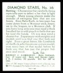 1934 Diamond Stars Reprint #36  Earnie Lombardi  Back Thumbnail