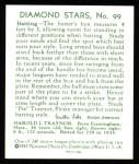 1934 Diamond Stars Reprint #99  Harols Pie Traynor  Back Thumbnail