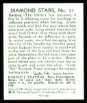1934 Diamond Stars Reprint #27  Pie Traynor  Back Thumbnail