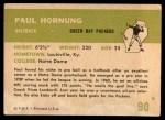 1961 Fleer #90  Paul Hornung  Back Thumbnail