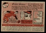 1958 Topps #110  Johnny Logan  Back Thumbnail