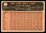 1966 Topps #172   Mets Team Back Thumbnail