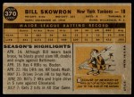 1960 Topps #370  Bill Skowron  Back Thumbnail