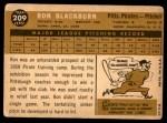1960 Topps #209  Ron Blackburn  Back Thumbnail