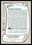 1989 Pacific Legends #148  Rogers Hornsby  Back Thumbnail