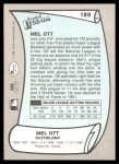 1989 Pacific Legends #189  Mel Ott  Back Thumbnail