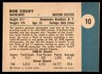 1961 Fleer #10  Bob Cousy  Back Thumbnail