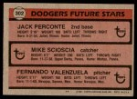 1981 Topps #302   -  Fernando Valenzuela / Mike Scioscia / Jack Perconte Dodgers Back Thumbnail