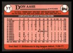 1989 Topps Traded #1 T Don Aase  Back Thumbnail