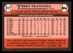 1989 Topps Traded #35 T Terry Francona  Back Thumbnail