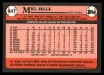1989 Topps Traded #44 T Mel Hall  Back Thumbnail