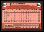 1989 Topps Traded #85 T Jamie Moyer  Back Thumbnail