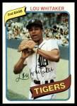 1980 Topps #358  Lou Whitaker  Front Thumbnail