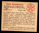 1950 Bowman #17  Bob Waterfield  Back Thumbnail