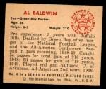 1950 Bowman #46  Al Baldwin  Back Thumbnail