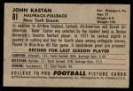 1952 Bowman Small #81  John Kastan  Back Thumbnail