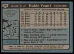 1980 Topps #265  Robin Yount  Back Thumbnail