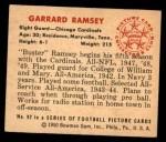 1950 Bowman #92  Garrard Ramsey  Back Thumbnail