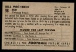 1952 Bowman Small #96  Bill Wightkin  Back Thumbnail
