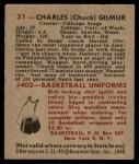 1948 Bowman #31  Chuck Gilmur  Back Thumbnail