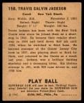 1940 Play Ball #158  Travis 'Stonewall' Jackson   Back Thumbnail