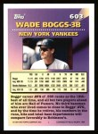1994 Topps #603   -  Wade Boggs Measures of Greatness Back Thumbnail