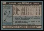 1980 Topps #358  Lou Whitaker  Back Thumbnail