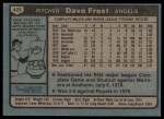 1980 Topps #423  Dave Frost  Back Thumbnail