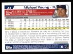 2004 Topps #41  Michael Young  Back Thumbnail