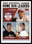 2004 Topps #345   -  Jim Thome / Richie Sexson / Javy Lopez Leaders Front Thumbnail