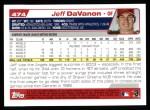 2004 Topps #474  Jeff Davanon  Back Thumbnail