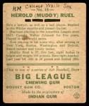 1933 Goudey #18  Muddy Ruel  Back Thumbnail